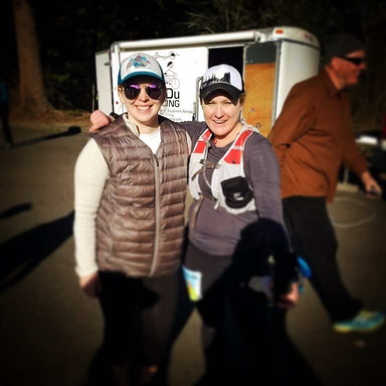 Stephanie (R) at the finish line with, friend and training partner, Kristi.